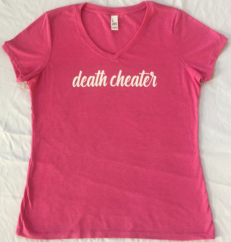 Death Cheater Ladies V-Neck in Pink with White