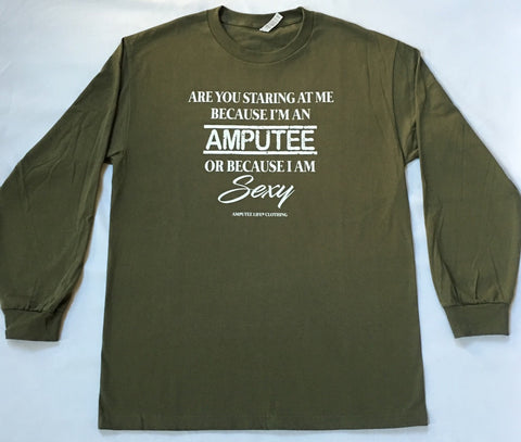 AMPUTEE AND SEXY Long Sleeve Military Green Shirt With White Print
