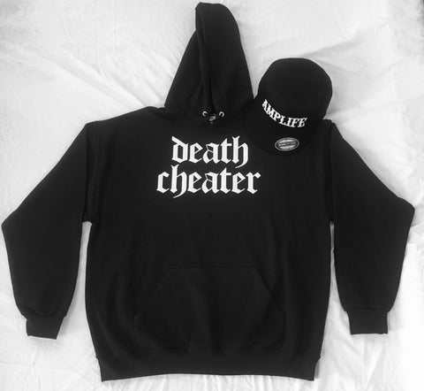 Death Cheater Hoodie Available in Black with White