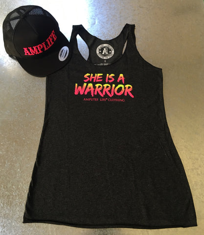 SHE IS A WARRIOR Racer Back Tank Top Vintage Black - Amputee Life® Clothing