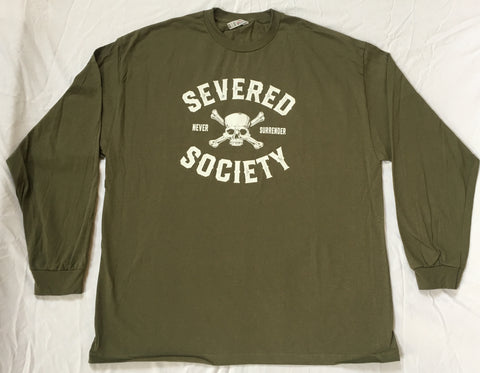 Severed Society Never Surrender Long Sleeve T-Shirt  Military Green
