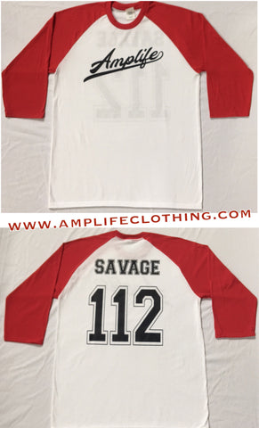 Amplife Savage Raglan White With Red