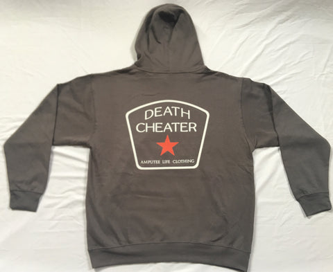 Death Cheater All Star Hoodie Grey or Black Left Chest front Print with Full Back Print