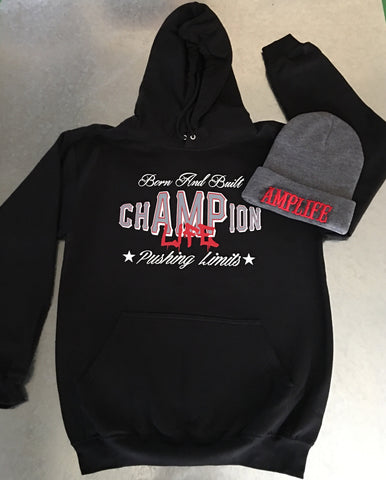 chAMPion Life  Black Hooded Sweatshirt - Amputee Life® Clothing