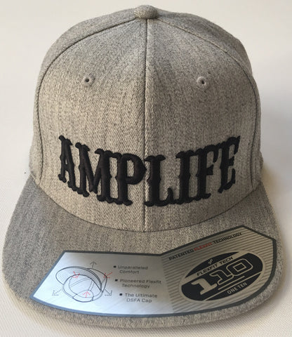 Amplife Heather Grey and Black  Flat Bill Snap Back Hat