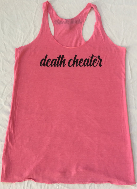 Death Cheater Ladies Tank Top Pink with Black