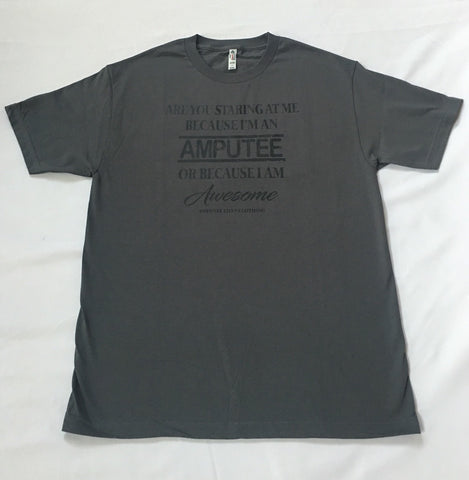 AMPUTEE AND AWESOME Grey T-Shirt With Black Print