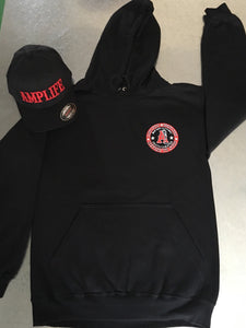 AMPLIFE DEATH CHEATER BACK PRINT Black & Red Hooded Sweatshirt - Amputee Life® Clothing