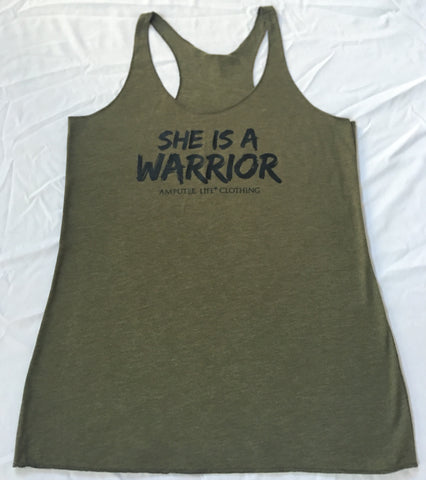 SHE IS A WARRIOR Racer Back Tank Top Military Green with Black