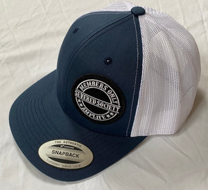 Members Only Severed Society Snap Back Trucker Hat Navy And White