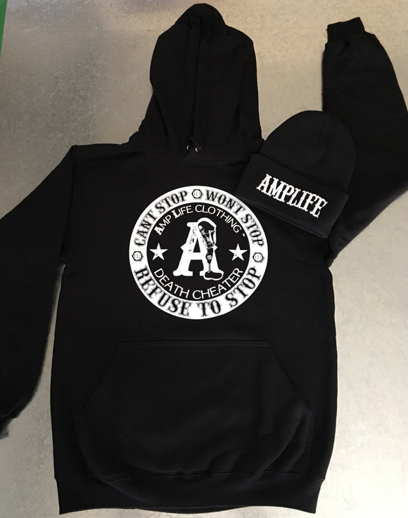 AMPLIFE DEATH CHEATER Black & White Hooded Sweatshirt - Amputee Life® Clothing
