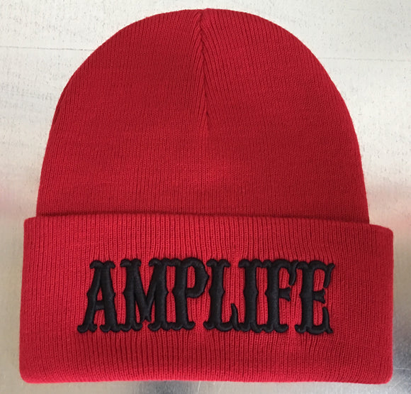AMPLIFE Beanie Red with Black