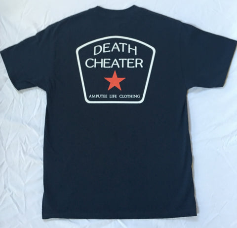 Death Cheater All Star Back Print with Left Chest Navy T-Shirt