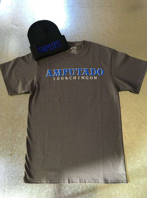 AMPUTADO 100% CHINGON Grey & Blue T-Shirt - Amputee Life® Clothing