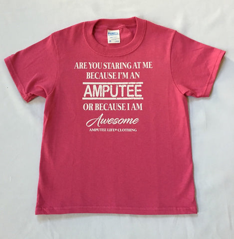 AMPUTEE AND AWESOME Kids Pink T-Shirt With White Print - Available Size 6 Months to Youth Large