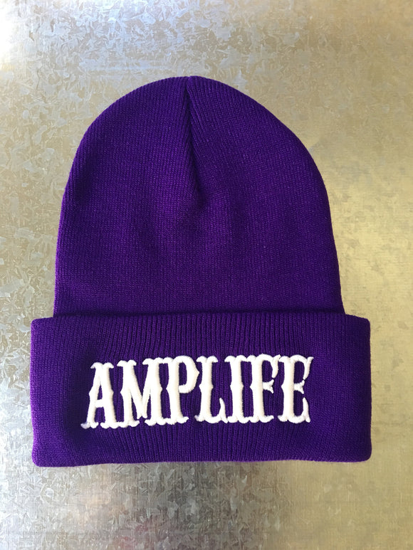 AMPLIFE BEANIE Purple with White - Amputee Life® Clothing