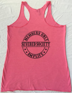 Members Only Severed Society Racer Back Tank Top Pink With Black