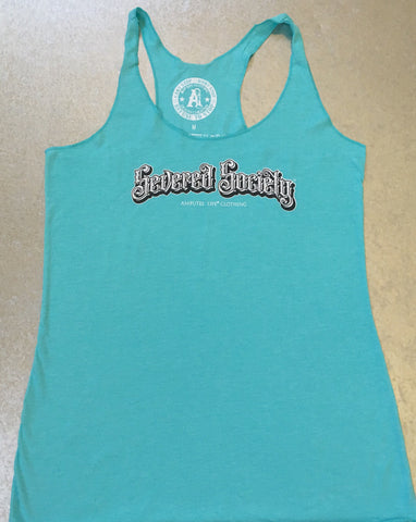 Severed Society Ladies Racer Back Tank Turquoise