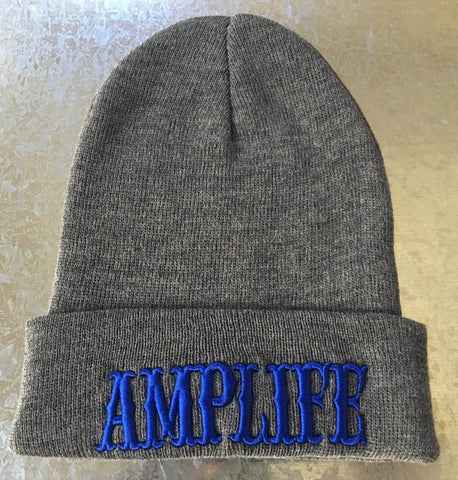AMPLIFE BEANIE Grey with Blue - Amputee Life® Clothing