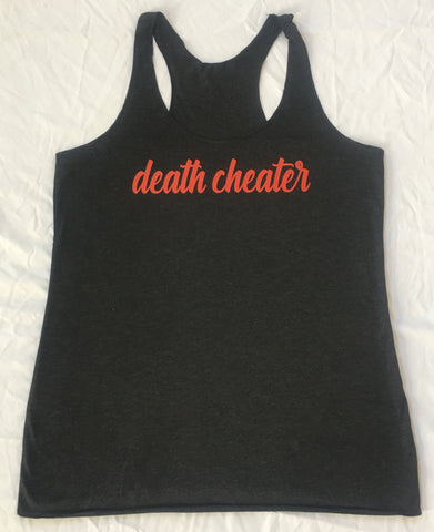 Death Cheater Ladies Tank Top in Black with Red