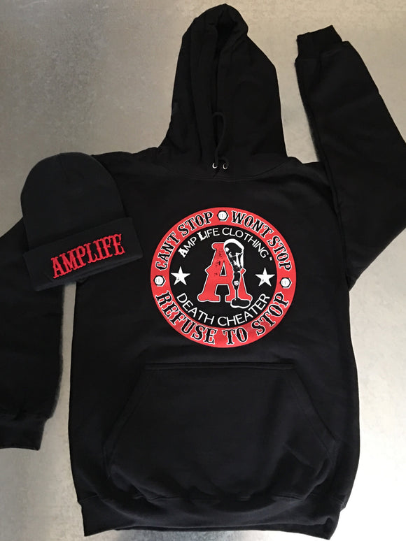 AMPLIFE DEATH CHEATER Black & Red Hooded Sweatshirt - Amputee Life® Clothing
