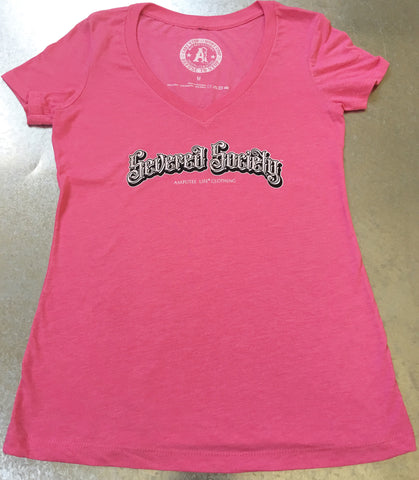 Severed Society Ladies V-Neck Tee Pink