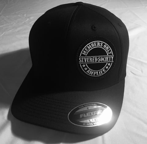 Members Only Severed Society Hat Black Curve Bill Flex Fit