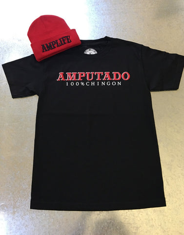AMPUTADO 100% CHINGON Black & Red T-Shirt - Amputee Life® Clothing