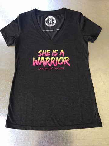 SHE IS A WARRIOR V-Neck Tee Vintage Black - Amputee Life® Clothing