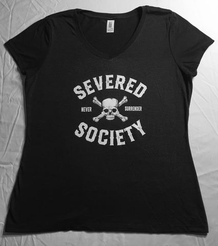 Severed Society Never Surrender Ladies V-Neck Available in Black or Pink