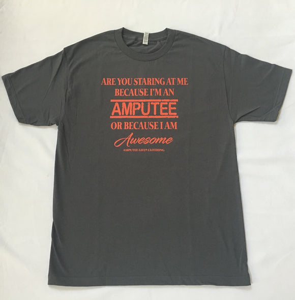 AMPUTEE AND AWESOME Grey T-Shirt With Orange Print