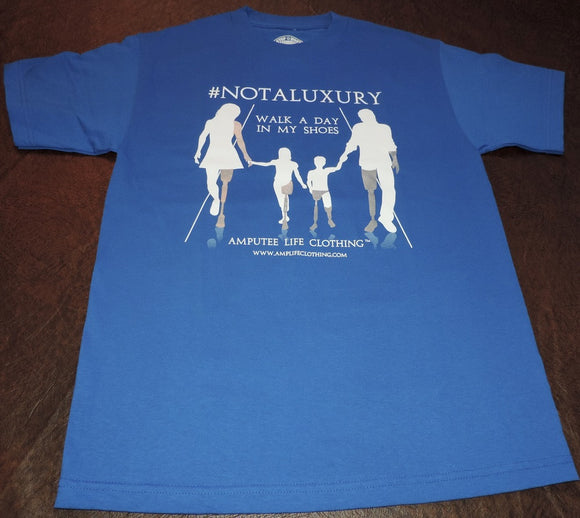 AMPUTEE LIFE®  WALK A DAY IN MY SHOES Royal Blue T-shirt - Amputee Life® Clothing