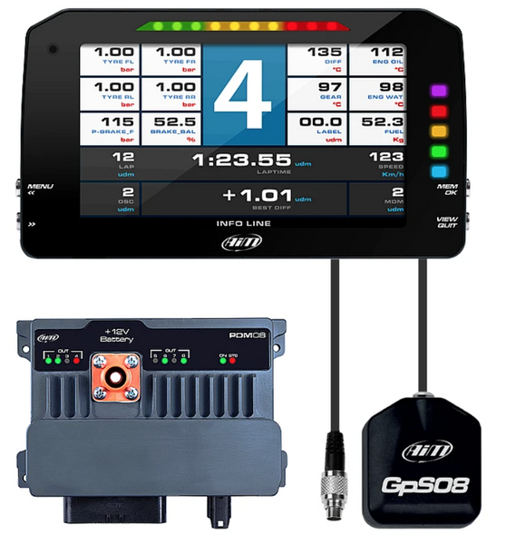 Aim Motorsport Power Distribution Module PDM08 With GPS Sensor, Data Logging And TFT Screen Included