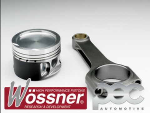 Wossner Mitsubishi Lancer Evo 4 5 6 7 2.0 16v Turbo 4G63T 8.0:1 Forged Pistons & PEC Rods Set