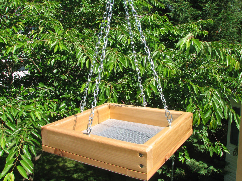 Cedar Hanging Tray Bird Feeder