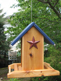 Cedar Bird Feeder w/ Red Stars