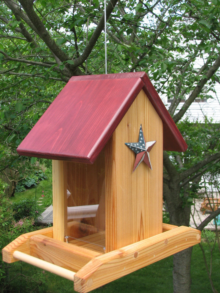 Cedar Bird Feeder w/ Red, White & Blue Star
