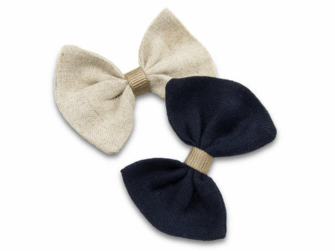 khaki and navy linen baby bows