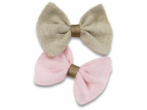 khaki and pink baby bows