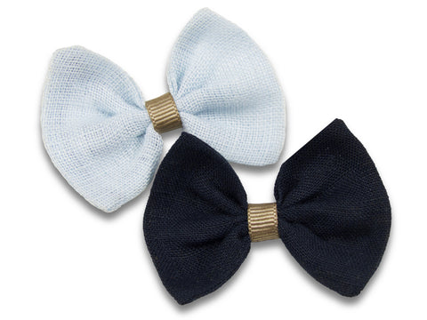 Navy and sky blue linen baby bows