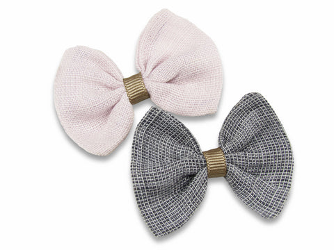 Blush pink and grey linen baby bows