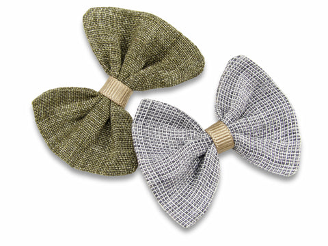 Khaki and grey linen baby bows