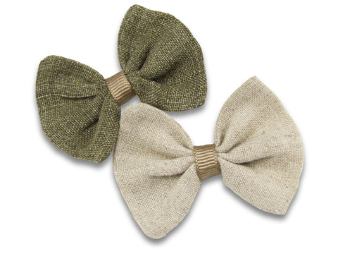 Stone and khaki linen baby bows