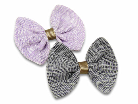 Lilac and grey linen baby bows