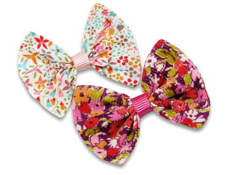 Liberty Betsy J and Eve pink baby bows