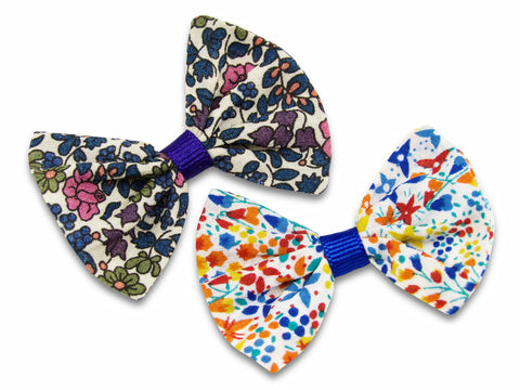 Liberty print Emelia's flowers and Eve Royal blue baby bows