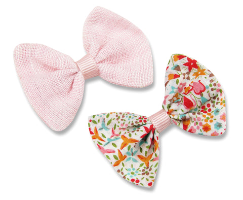 Pink linen & liberty Eve pink baby hair bows
