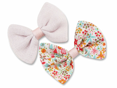 Blush pink linen & liberty Eve pink baby hair bows