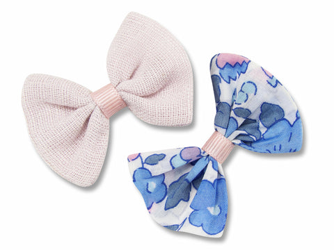Blush pink linen & liberty Betsy A baby hair bows
