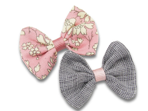 Grey linen & Liberty Capel pink baby hair bows